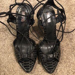 Schutz Crocodile leather wrap heels